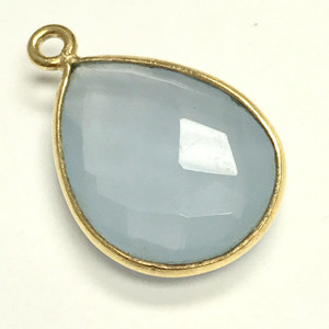 Faceted Blue Opal Chalcedony Gold Filled Bezeled Drop Focal Bead 13 x 17mm