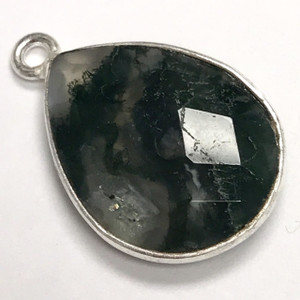 Faceted Moss Agate Silver Bezeled Drop Focal Bead 13 x 17