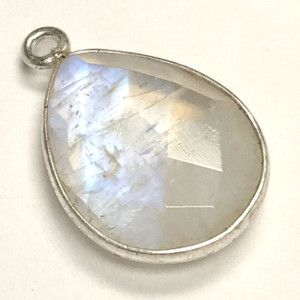Faceted Moonstone Silver Bezeled Drop Focal Bead 13 x 17mm