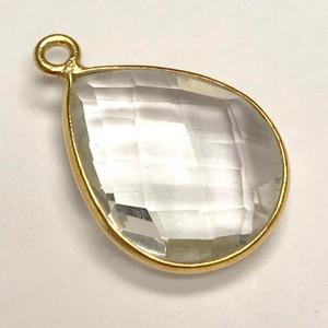 Faceted Crystal Quartz Vermeil Bezeled Drop Focal Bead 13 x 17mm