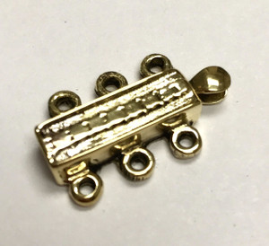 Dotted Triple Strand Brass Slider Clasp 22 x 13mm