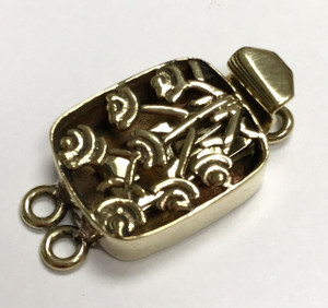 Double Strand Brass Floral Filigree Clasp 27 x 15mm