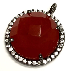 Faceted Carnelian & CZ Gunmetal Drop Focal Bead 18mm