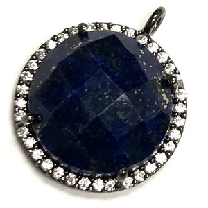 Faceted Lapis & CZ Gunmetal Drop Focal Bead 18mm