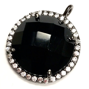 Faceted Black Onyx & CZ Gunmetal Drop Focal Bead 18mm