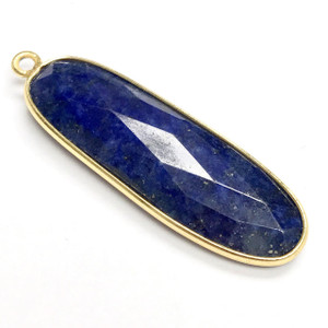 Faceted Lapis Vermeil Oval Bezeled Drop Focal Bead  35 x 10mm