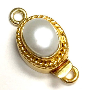 Vermeil Roped Oval Pearl Clasp 11 x 13mm