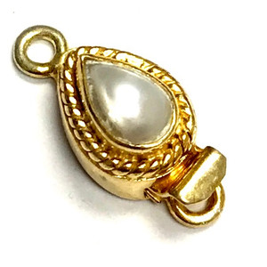 Vermeil Marquis Roped Pearl Clasp 12 x 9mm