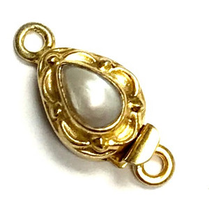 Vermeil Scrolled Marquis Pearl Clasp 14 x 10mm