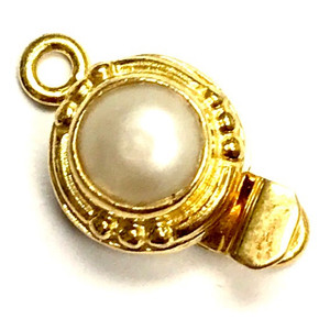 Vermeil Classy Round Pearl Clasp 11mm