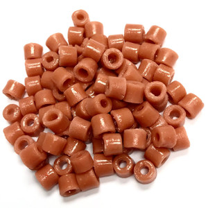 Vintage Czech Salmon Scinter Glass Tile Beads 6mm