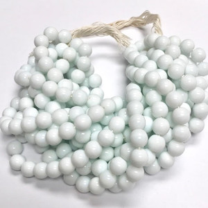 Vintage Czech Pressed Glass Opaque White Druk Beads 10mm