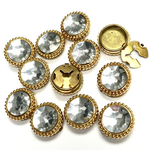 Vintage Faux Crystal Button Covers 21mm