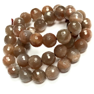RARE-Highly Faceted Chocolate Moonstone Beads 10mm