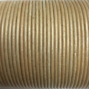 Leather Cord USA 2mm Natural Cream Pearl Round Leather