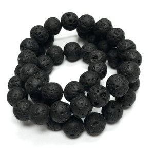 Natural Black Lava Rock Beads-Large