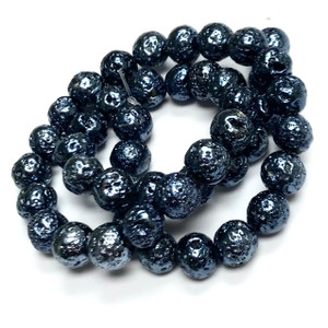 Metallic Blue Titanium Coated Lava Rock Beads