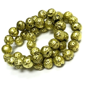 Metallic Chartreuse Titanium Coated Lava Rock Beads