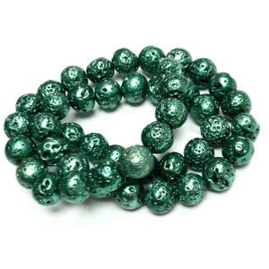Metallic Green Titanium Coated Lava Rock Beads