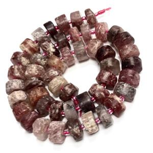 Matte Finish Strawberry Quartz Rondell Beads