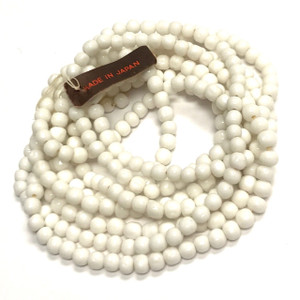 Rare Vintage Miriam Haskell Baroque Glass Beads-White-4mm