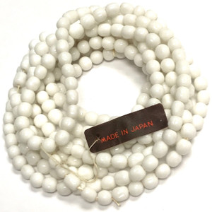Rare Vintage Miriam Haskell Baroque Glass Beads-White-5mm