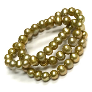 Light Sage Green Freshwater Semi-Round Pearl Beads