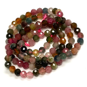 Rainbow Tourmaline Micro Cut Round Beads