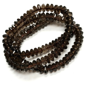 Smokey Quartz Faceted Saucer Beads