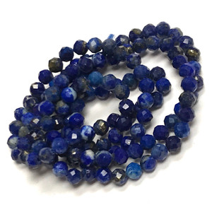 Lapis Micro Diamond Cut Round Beads