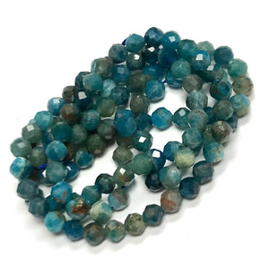 Apatite Micro Diamond Cut Round Beads