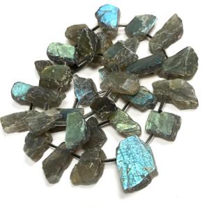 Free Form Top Drilled Labradorite Slab Beads