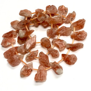 Sunstone Free Form Top Drilled Slab Beads