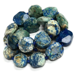 Lightening Azurite Round Faceted Beads