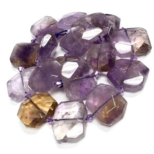 One of a Kind Natural Ametrine Faceted Cushion Beads