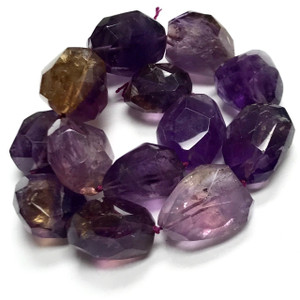 RARE One of a Kind Ametrine Graduated Faceted Nugget Beads