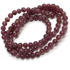 Highly Polished 4mm Lepidolite Round Beads