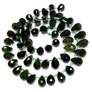 RARE One of a Kind Graduated Green Tourmaline Briolette Beads