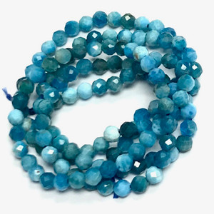 Micro Diamond Cut Apatite Beads-3mm