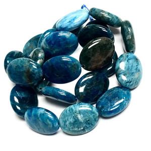 Highly Polished Flat Oval Apatite Beads