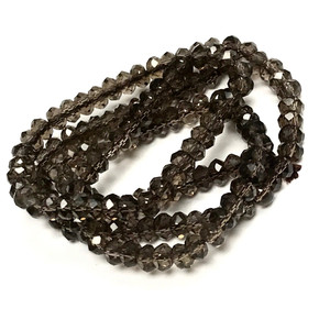 Micro Diamond Cut Smokey Quartz Rondell Beads