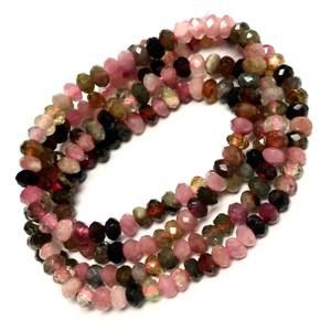 Micro Diamond Cut Rainbow Tourmaline Beads