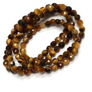 Micro Diamond Cut Round Tiger Eye Beads