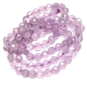 Micro Diamond Cut Lavender Amethyst Round Beads