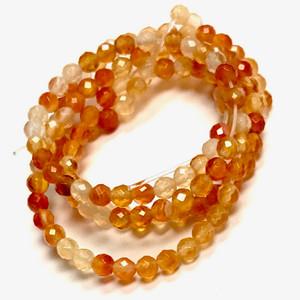 Micro Diamond Cut Carnelian Beads