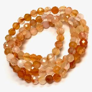 Carnelian Micro Cut Diamond Beads