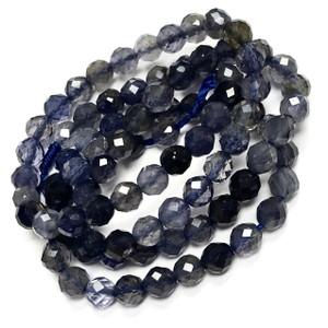 Micro Diamond Cut Iolite Round Beads