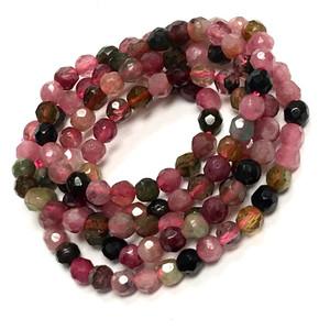 Rainbow Tourmaline Micro Diamond Cut Round Beads