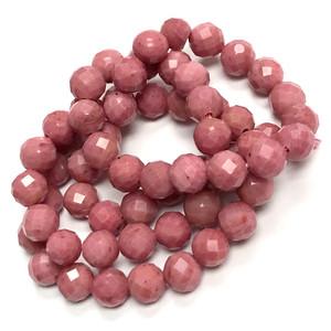 Micro Diamond Cut Round Rhodochrosite Beads