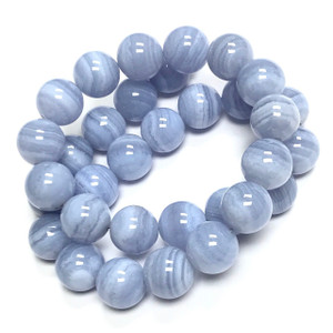Highly Polished Blue Lace Agate Round Beads